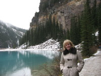Kathy Reichs at Lake Louise in Canada.