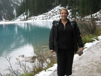 Amy Cormier, Head of Publicity at Simon and Schuster Canada, at Lake Louise.